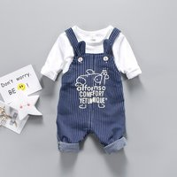 Trendy Long-sleeve Tee and Striped Suspender Pants Set for Baby and Toddler Boy