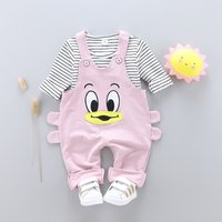 Lovely Striped Top and Duck Applique Overalls Set for Baby and Toddler