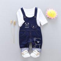 Toddler Boy's Bear Print Long-sleeve Top and Denim Overalls Set