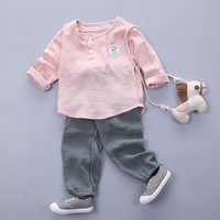 2-piece Solid Long-sleeve Top and Shorts Set for Baby and Toddler