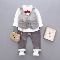 3-piece Casual Bow Tie Decor Shirt, Vest and Striped Pants Set for Baby Boy