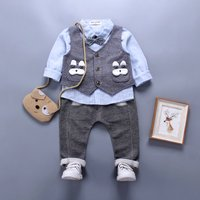 3-piece Comfy Striped Long-sleeve Shirt, Vest and Pants Set for Baby Boy