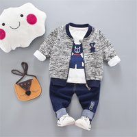 3-piece Cute Bear Print Top, Jacket and Pants Set for Baby Boy