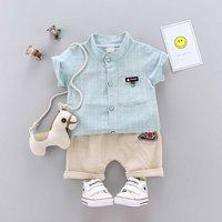 Baby/ Toddler Boy's Plaid Shirt and Baseball Hat Applique Shorts