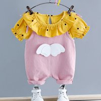 Cute Dotted Tee and Wing Decor Suspender Pants Set for Baby and Toddler Girl