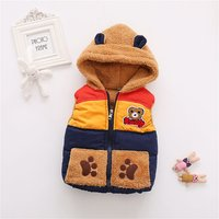 Super Cute Bear Applique Sleeveless Hooded Coat for Baby