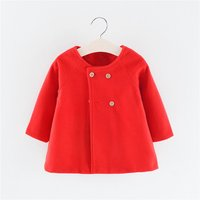 Fashionable Round-collar Solid Dolman Long-sleeve Coat for Baby and Toddler