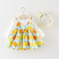 2-piece Baby/ Toddler Girl's Lemon Allover Faux-two Dress and Headband