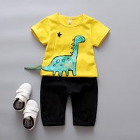 Cool Dino Print Short-sleeve Tee and Shorts Sets for Baby Boys