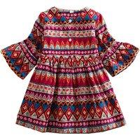 Stylish Boho Pattern Flare-sleeve Dress for Girl