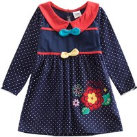 Chic Bow Decor Polka Dotted Long Sleeves Dress for Girls