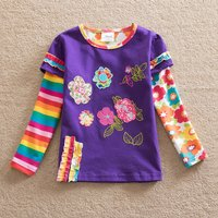 Faux-2 Sweet Flower Applique Long-sleeve T-shirt for Girl