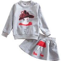 Pretty Cartoon Print Long-sleeve T-shirt and Skirt Set for Girl