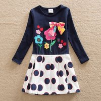 Stylish Polka Dots Splice Flower Embroidered  Bow Decor Long-sleeve Dress