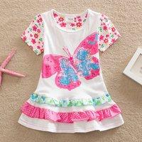 Casual Flower Prine Big Butterfly Pattern Tiered Design Short-sleeve Dress