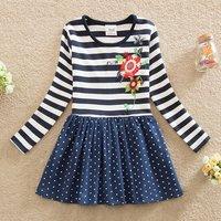 Causal Flower Pattern Polka Dots Splice Stripe Long-sleeve Dress