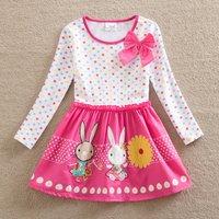 Causal Bow Decor Polka Dots Rabbit Pattern Splice Long-sleeve Dress