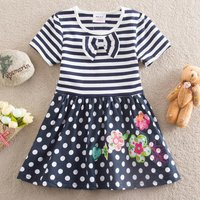 Stylish Bow Decor Polka Dots Stripe Splice Flower Pattern Short-sleeve Dress