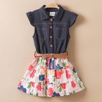 Toddler Girl's Floral Allover Denim Splice Dress