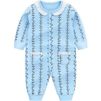 Baby Girl's Lovely Seaweed Stripes Long-sleeve Jumpsuit