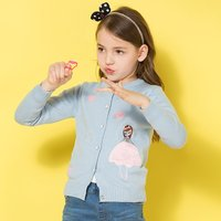 Sweet Girl Applique Decor Long-sleeve Cardigan for Girl