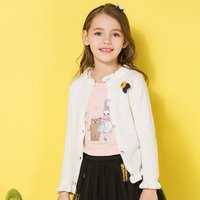 Pretty Flower Decor Long-sleeve Ruffled Cardigan for Girl