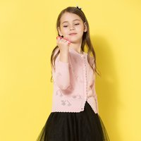 Pretty Cherry-shaped Hollow Out Knit Cardigan in Pink for Girl