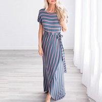 Pretty Stripe Slit Short-sleeve Maxi Dress