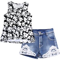 Fashion Scrawl Print Tank Top and Denim Shorts Set for Toddler Girl