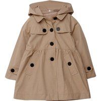 Fashionable Solid Cinched Button Decor Hooded Coat for Girl