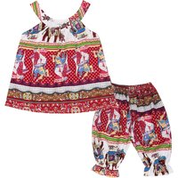 2-piece Ethnic Sleeveless Top and Pants Set for Toddler Girl