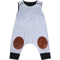 Comfy Color-blocking Reinforced-knee Sleeveless Jumpsuit in Grey for Baby Boy