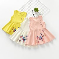 Cute Butterfly Print Solid Sleeveless Dress for Girl and Toddler Girl