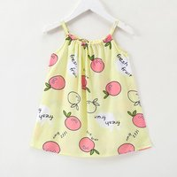 Cute Apple Print Strap Dress for Baby and Toddler Girl