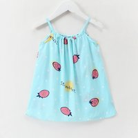 Cute Strawberry Print Strap Dress for Baby and Toddler Girl