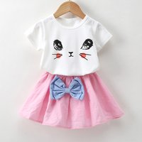 Cute Cat Print Short-sleeve T-shirt and Bow Decor Skirt Set for Toddler Girl and Girl
