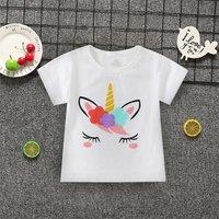 Lovely Unicorn Print Short-sleeve T-shirt in White for Toddler Girls and Girls