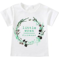Toddler Girl's Little Flower Print T-shirt in White