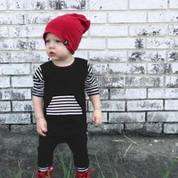 Fashionable Striped Splice Long-sleeve Jumpsuit for Baby