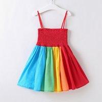 Beautiful Rainbow Colors Splice Slip Dress for Toddler Girl