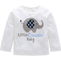 Trendy Elephant Print Long-sleeve Top in White for Baby Boy