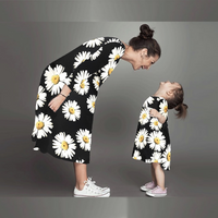 Beautiful Floral Round Collar Long Sleeves Mommy and Me Dress