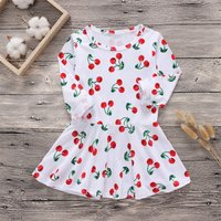 Baby and Toddler Girl's Cute Cherry Patterned Long-sleeve Dress