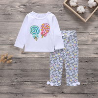2-piece Lovey Lollipop Print Long-sleeve Top and Floral Pants Set for Baby Girl