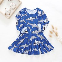 Fun Shark Allover Long-sleeve Dress for Baby and Toddler Girl