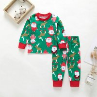 2-piece Lovely Christmas Graphic Patterned Long-sleeve Top and Pants Set for Baby