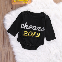 "Fashionable ""Cheers 2019"" Long-sleeve Bodysuit for Baby"