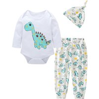 3-piece Lovely Dinosaur Print Long-sleeve Bodysuits, Pants and Hat Set for Baby Boy