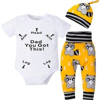 3-piece Trendy Letter Print Short-sleeve Romper, Raccoon Patterned Pants and Hat Set for Baby
