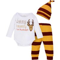 3-piece Lovely Deer Graphic Letter Print Long-sleeve Bodysuit,  Striped Pants and Hat Set for Baby